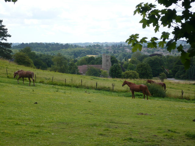 View across a farm field towards Boxley Church from Pilgrim's Way - geograph.org.uk - 870659