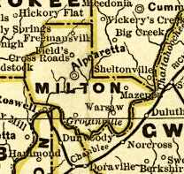Original Milton County in 1883, with (counterclockwise from lower right) Gwinnett to the southeast, Forsyth to the northeast, Cherokee to the northwest, Cobb to the southwest, and Fulton (Hammond, now Sandy Springs) and DeKalb (Chamblee and Dunwoody) to the south. The northern edge of DeKalb also now no longer touches the river, as it did then.