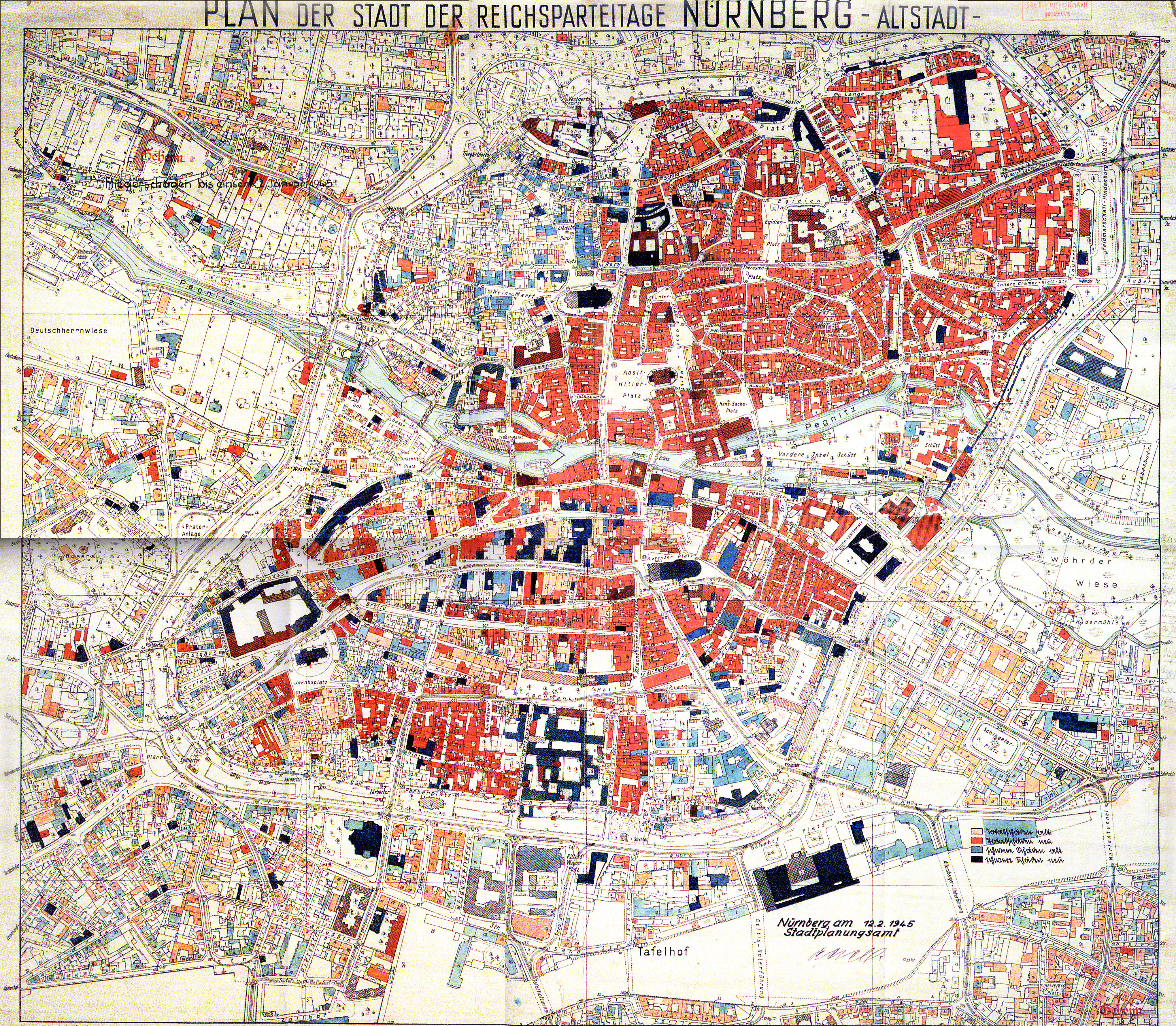 Stadtplan von Nürnberg 1945 mit Angabe der zerbombten Objekte.