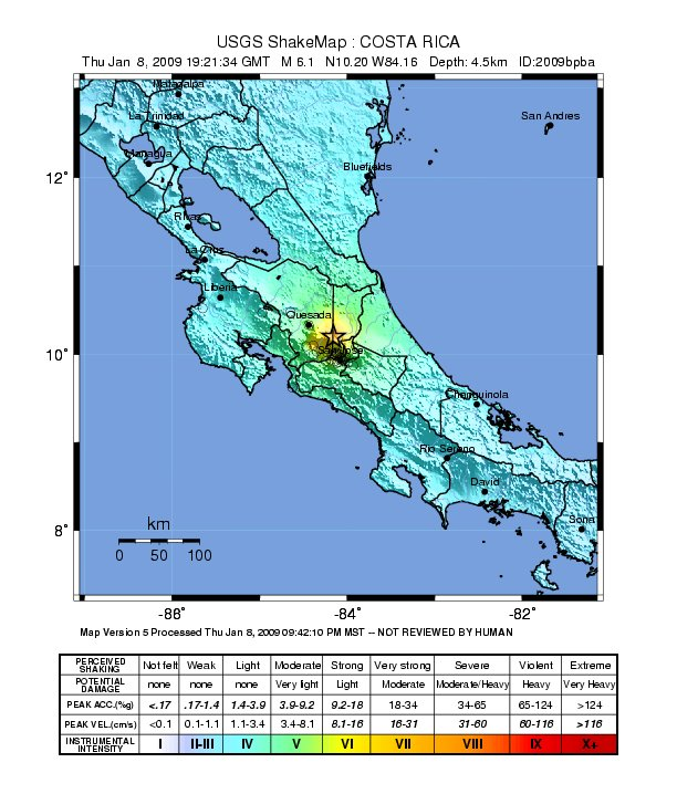Shake map of Costa Rica 2009