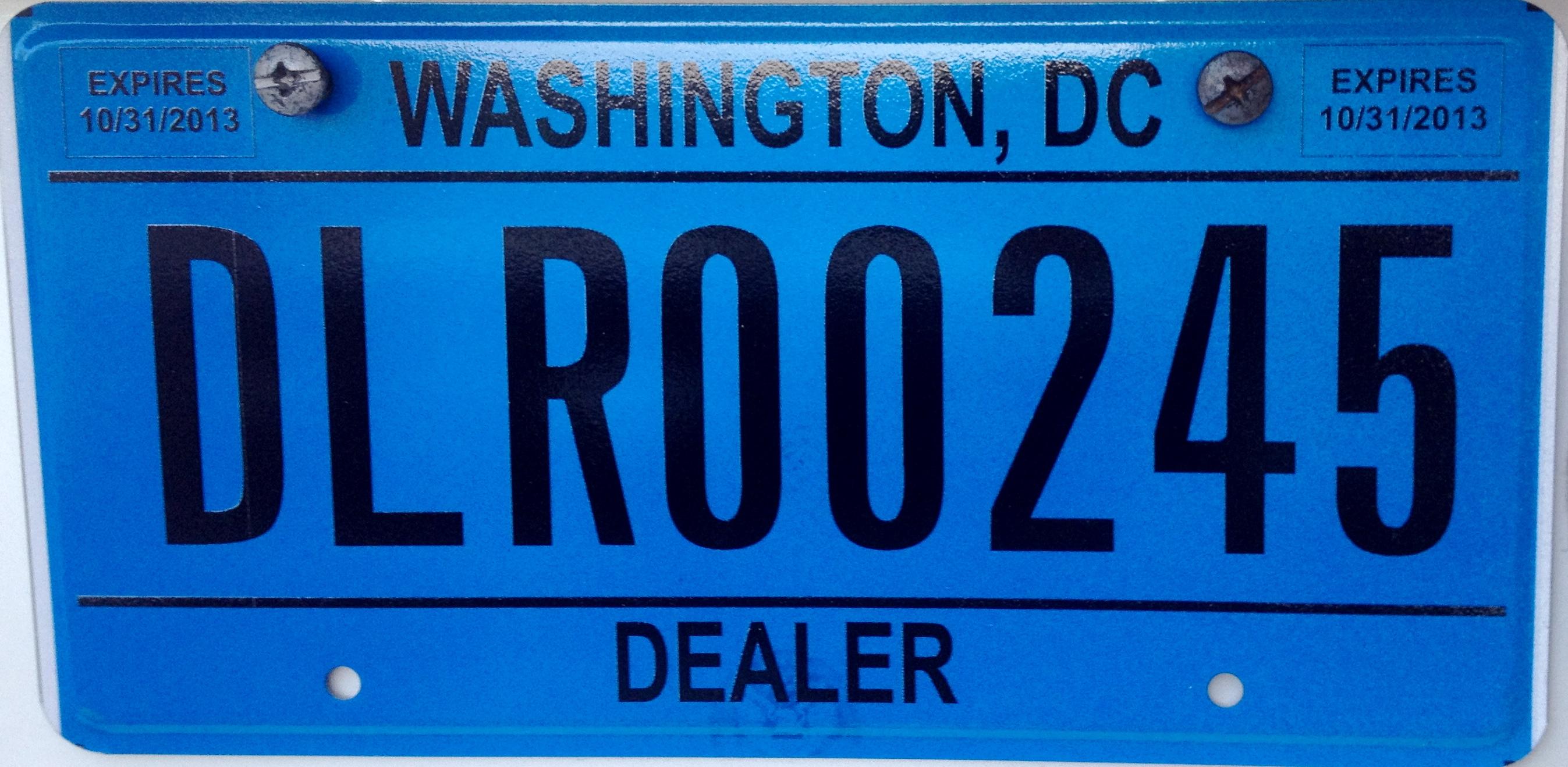 File:2013 Washington, D.C. dealer vehicle registration plate.JPG ...