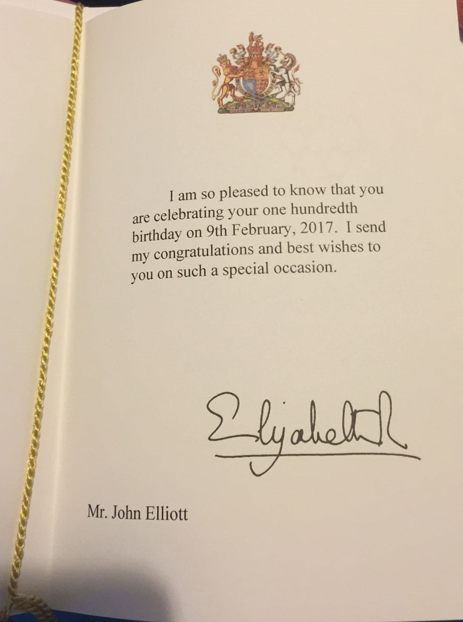 file9 february 2017 congratulatory message from queen elizabeth ii on the 100th birthday of