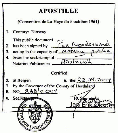 Apostille Norway By County of Hordaland (scan of a document) [Public domain], via Wikimedia Commons