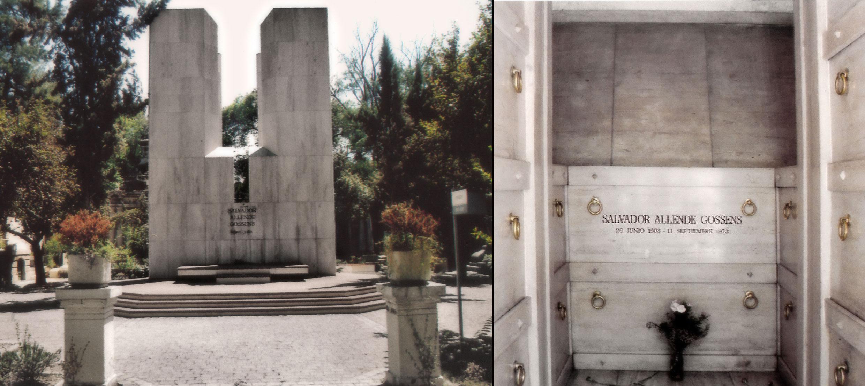 Mausoleo (izquierda) y tumba de Salvador Allende (derecha) en el Cementerio General.