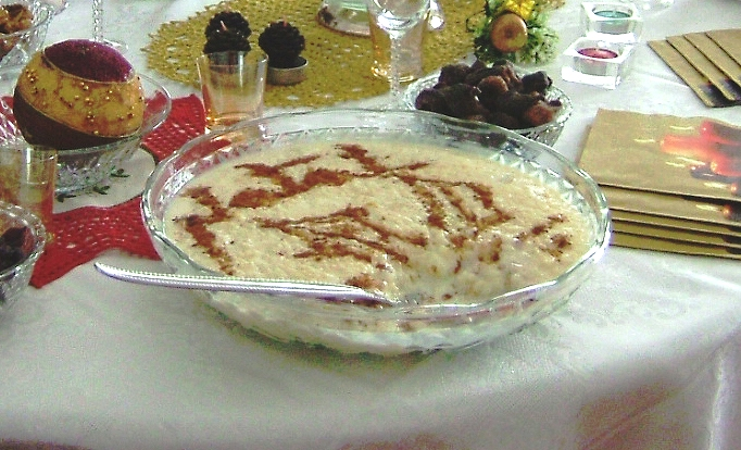 Rice pudding (Arroz doce) in a typical Christmas meal, in Portugal