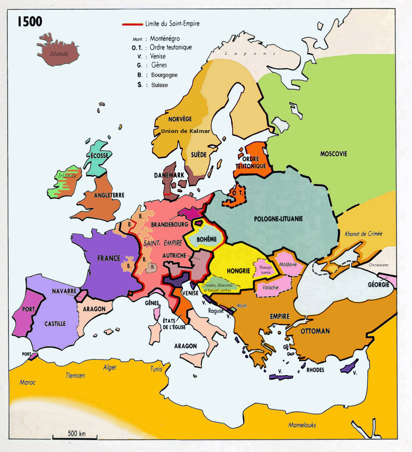 Maps Map Of Europe In 1500