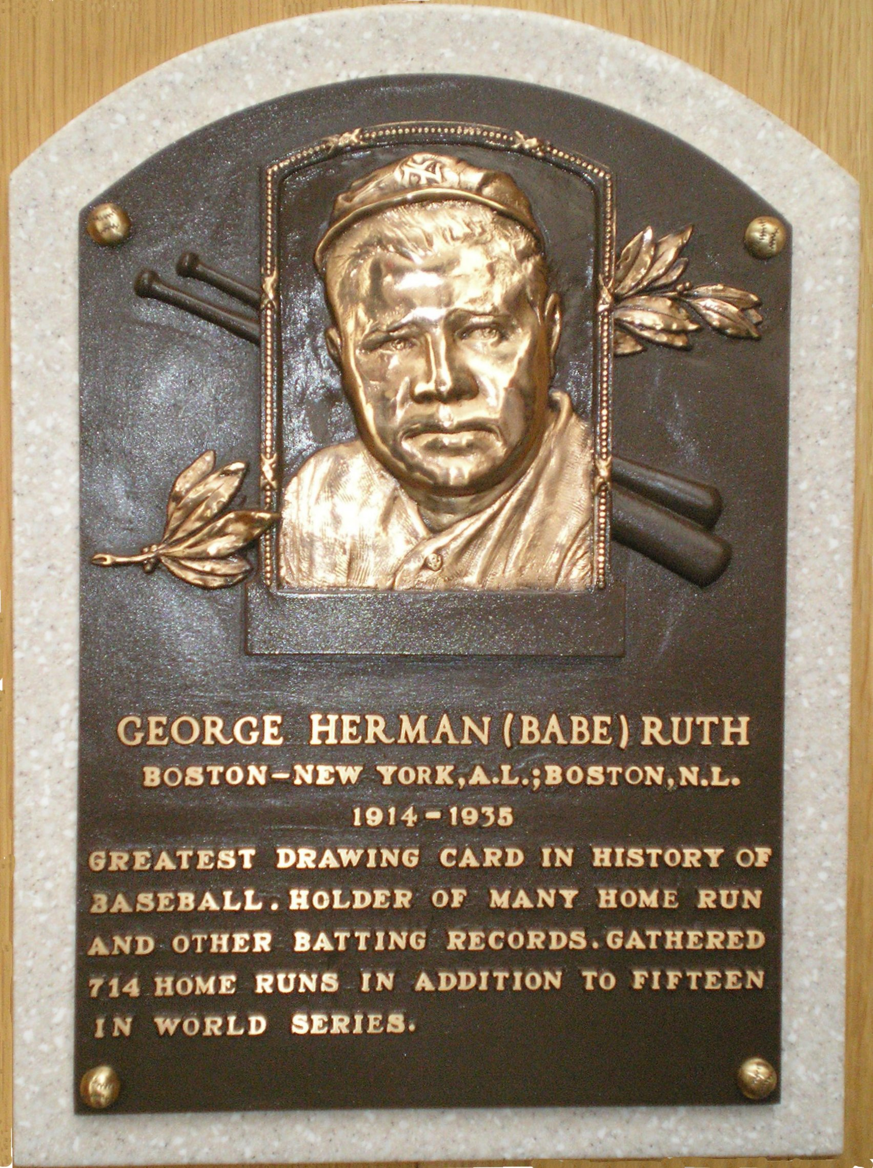 Babe Ruth Hall of Fame Plaque