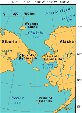 Map showing the proximity of the Chukchi peninsula in Russia to the Seward Peninsula in America