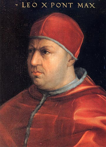 Leo X: a pope, but also a member of the Medici family. Machiavelli suggested they should treat the church as a princedom, as the Borgia family had, in order to conquer Italy, and found new modes and orders. Cardinal Giovanni de' Medici.jpg