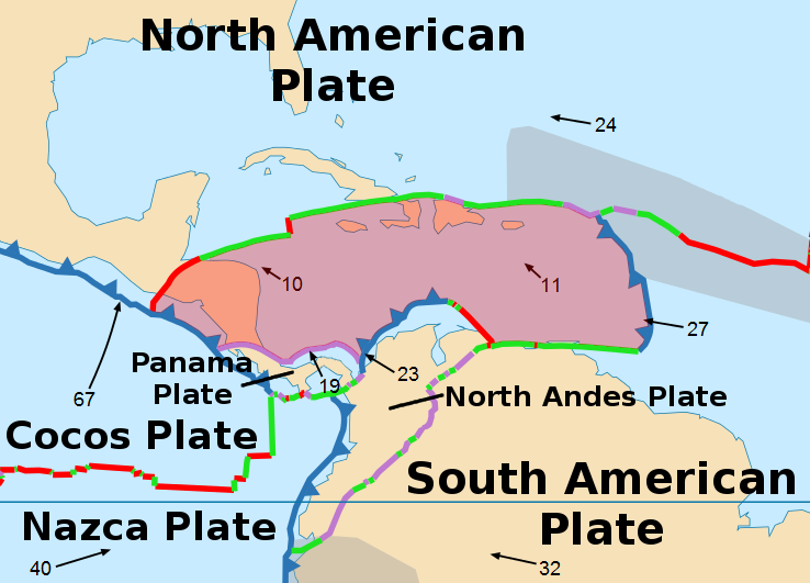 Caribbean Plate Wikipedia - Pate boundaries off the coasts us map