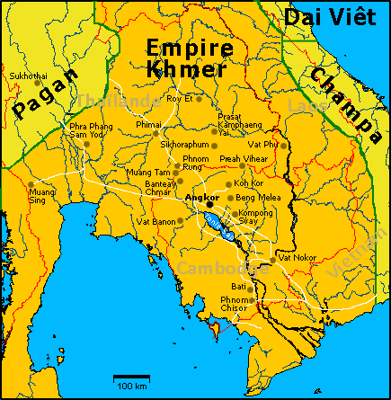 French Map of Khmer Empire under Jayavarman VII