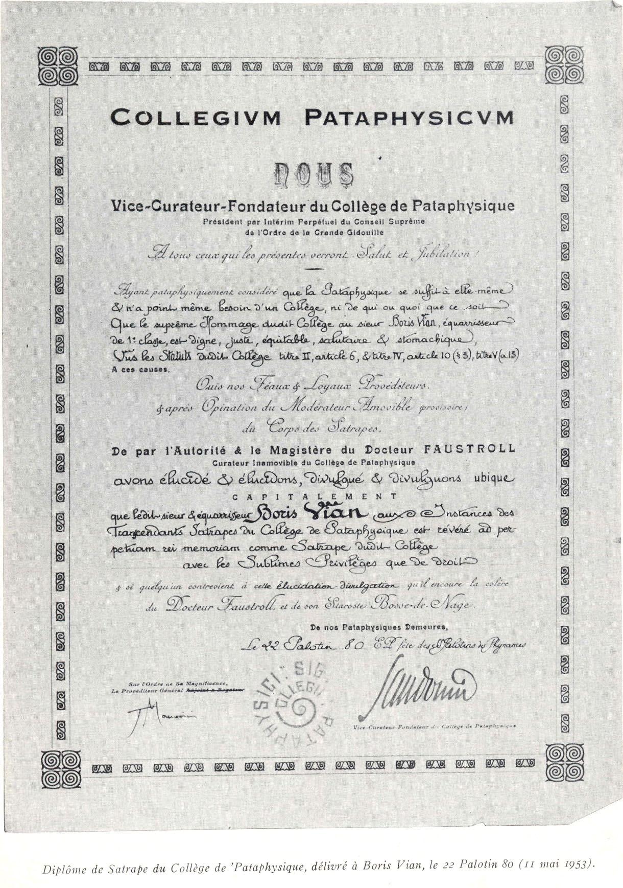 Título de Sátrapa Trascendente del Colegio de Patafísica, expedido a Boris Vian el 22 de Palotin de 80 (11 de mayo de 1953).