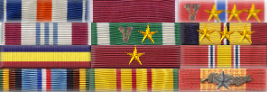 Commander Richard Marcinko's ribbon rack worn in the standard U.S. Navy style, rows of three with no spacing or staggering.
