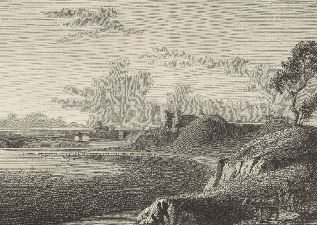 A distant view of Rudland Castle, church bridge & harbour, Flintshire
