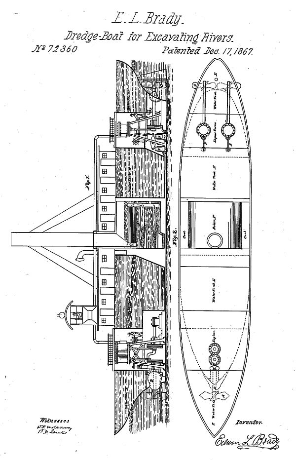 file:drawing of brady's dredging boat, from his patent jpg