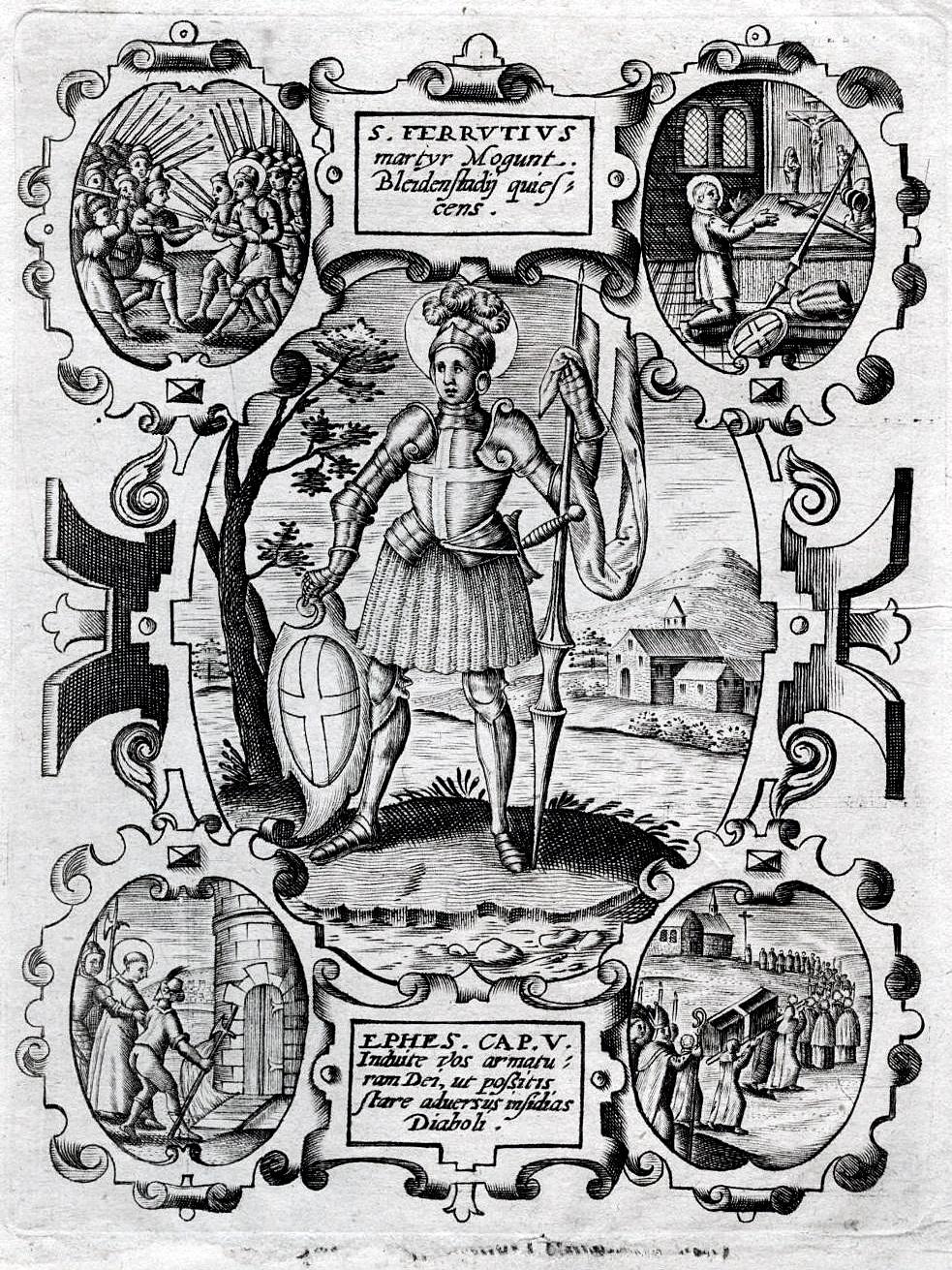 Stikk av St. Ferrutius og hans Vita (ca 1700)
