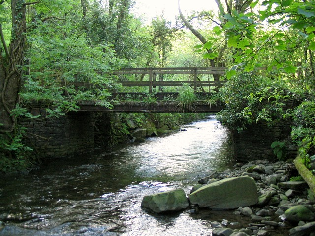 Footbridge over river Clydach - geograph.org.uk - 179230