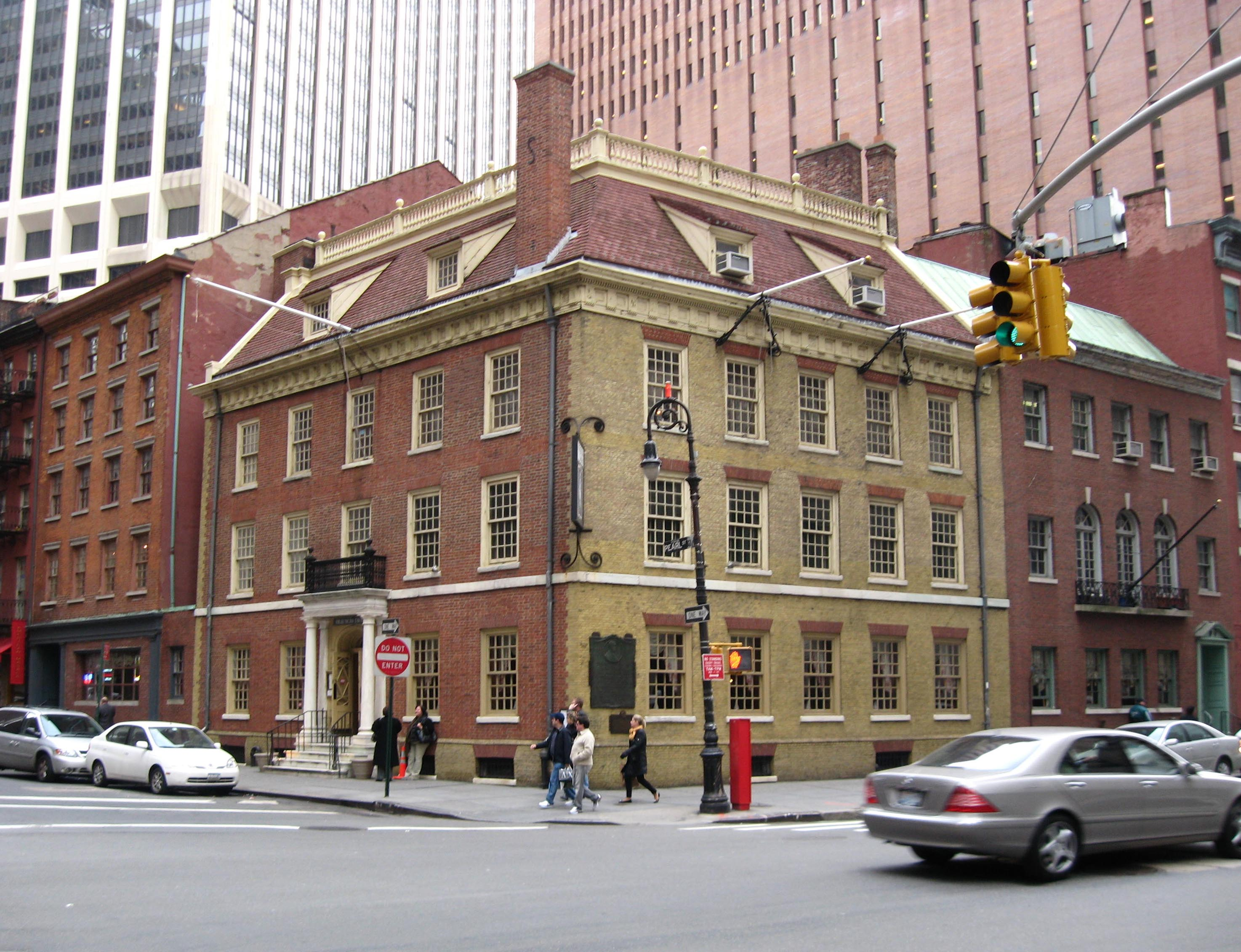 North and west fronts of Fraunces Tavern on Pearl Street at Broad Street