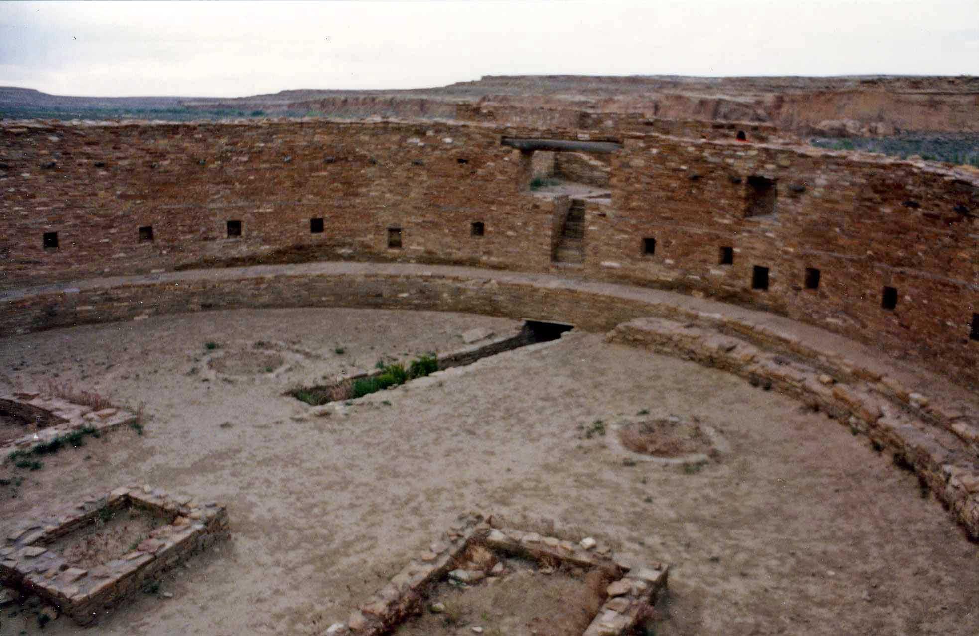 Ruins of a great kiva at Chaco Canyon.