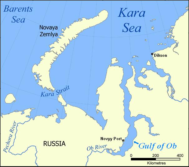 Localización del estuario en el golfo del Obi
