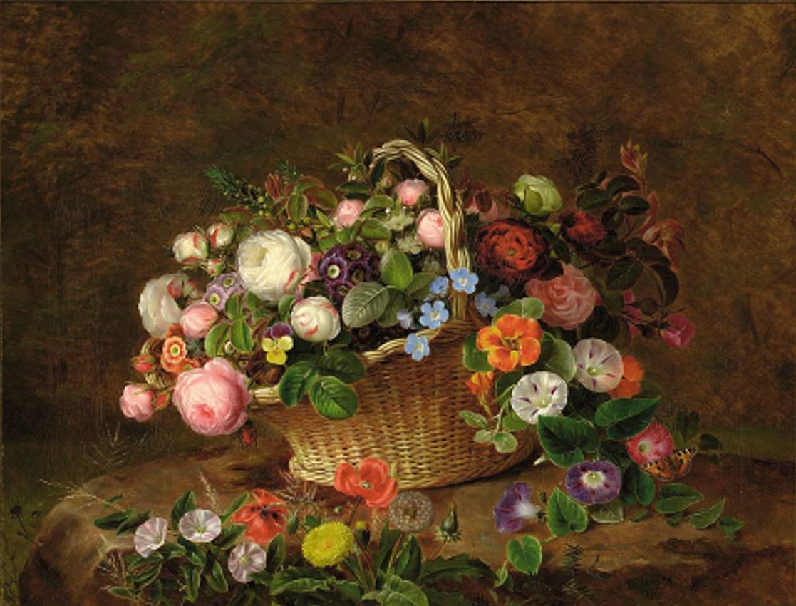 Johan Laurentz Jensen - Flettet kurv med roser, aurikler og stedmoderblomster - 1846.png