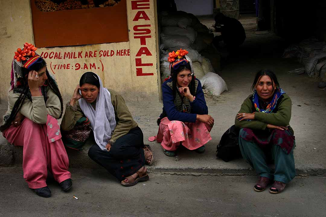 Brokpa women from Kargil, northern Ladakh, in local costumes