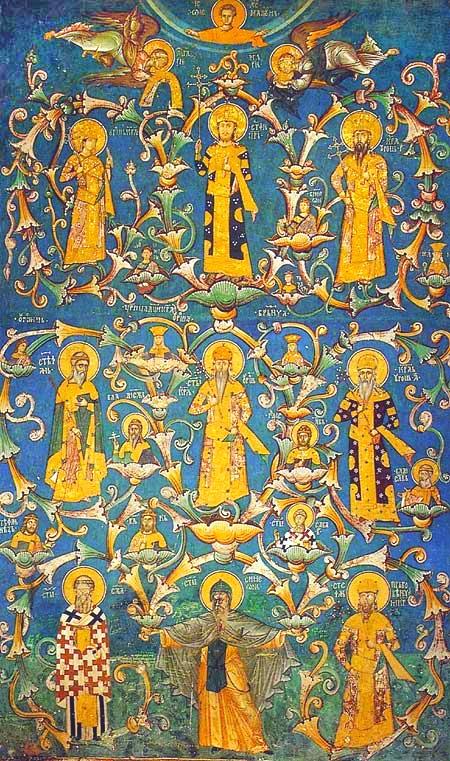 Mittelalterliches Fresko im Kloster Visoki Dečani von etwa 1335. Dargestellt ist ein Stammbaum der Nemanjiden.