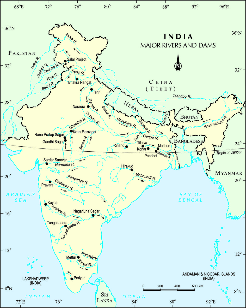 FileMajor Rivers And Dam In Indiajpg Wikimedia Commons - Most important rivers in the world