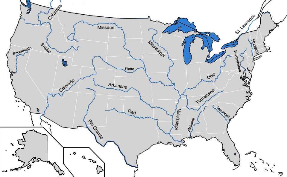 Httpsuploadwikimediaorgwikipediacommons - Us map with rivers