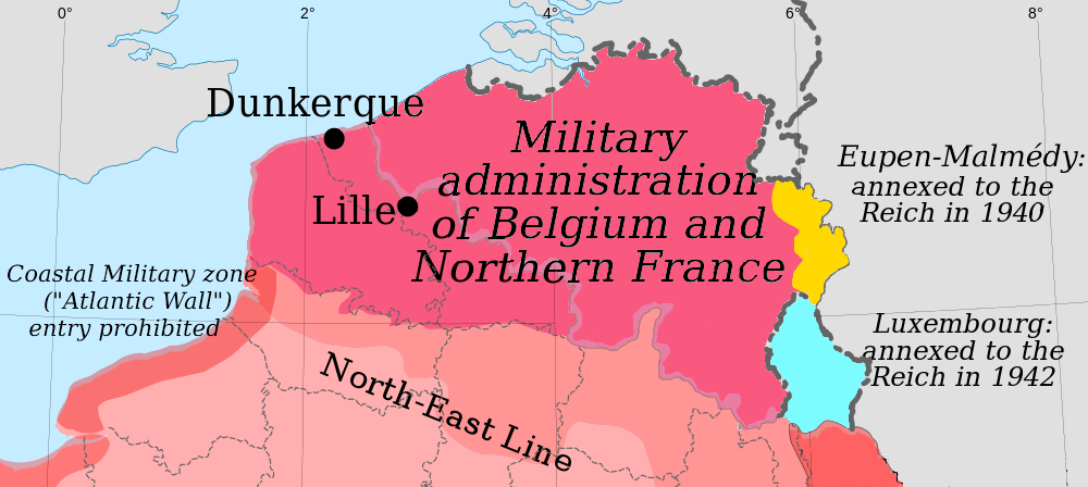 Map Of France North Coast.File Military Administration Belgium Northern France Png Wikimedia