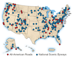 "National Scenic Byway Road recognized by the USDOT for one or more of six ""intrinsic qualities"": archeological, cultural, historic, natural, recreational, and scenic"
