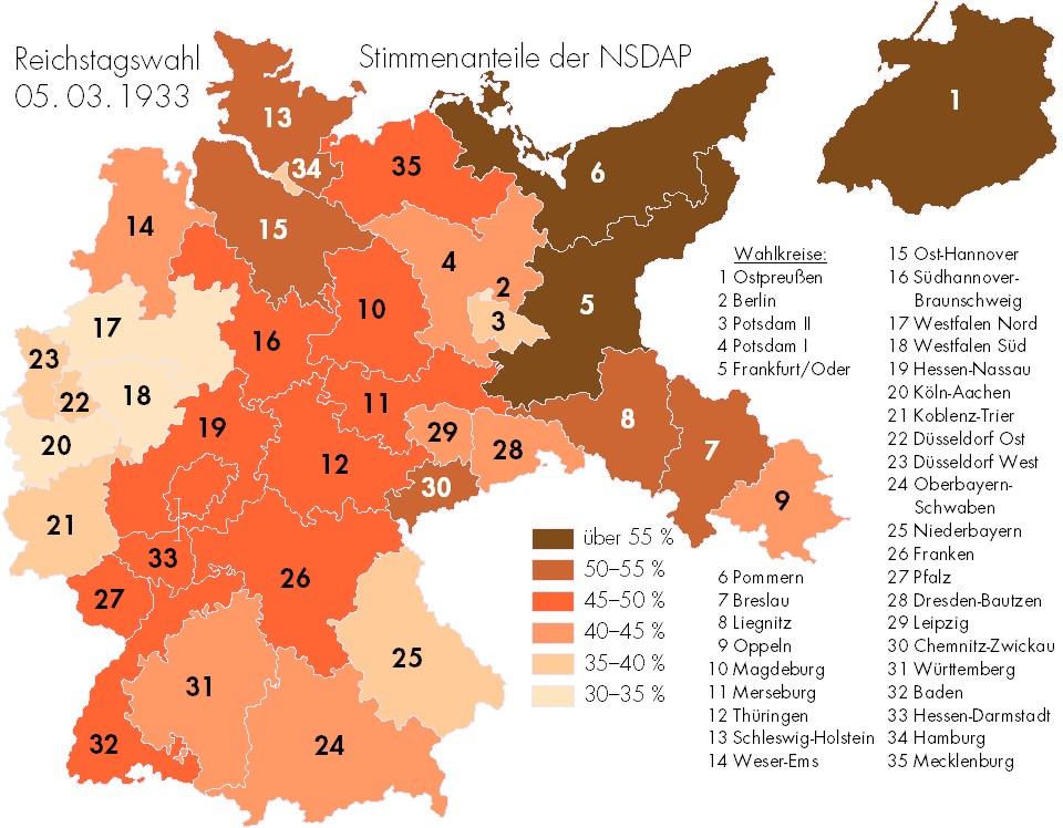 Where Germans Voted For The Nazis In 1933 Brilliant Maps