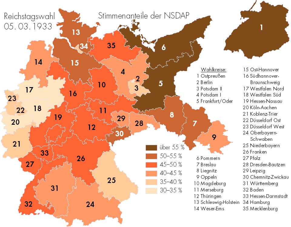Stimmenanteile der NSDAP nach der Reichstagswahl vom 5.März 1933