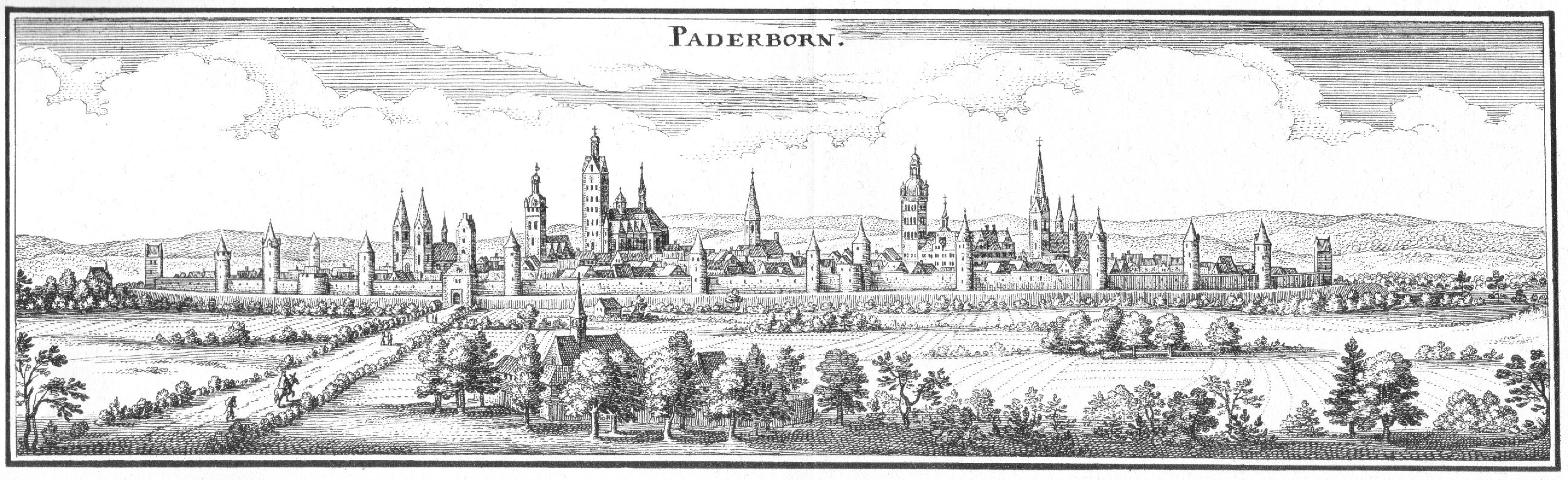 Stadtansicht Paderborns aus südwestlicher Richtung Von links