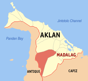 Map of Aklan showing the location of Madalag