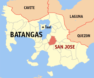 Map of Batangas showing the location of San Jose