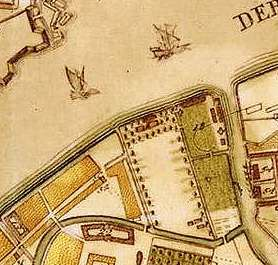 The site of the future Field of Mars, shown on an 1737 map of the city