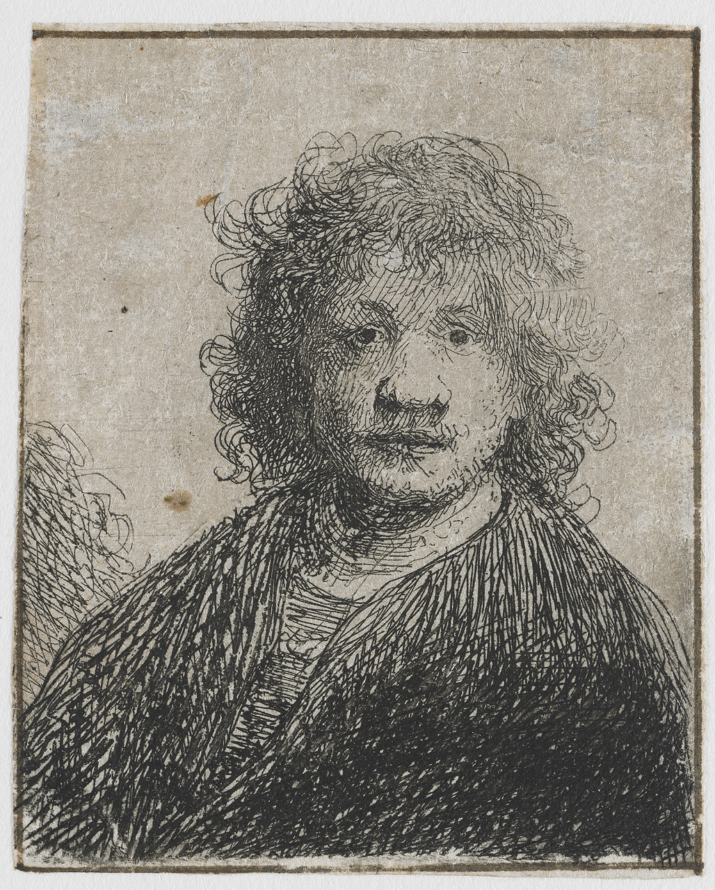 Self portrait with broad nose. Rembrandt van Rijn.