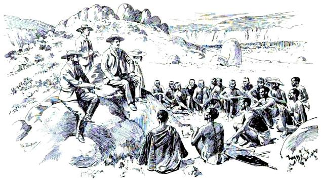 Rhodes makes peace with the Ndebele in Matobo Hills, 1896; sketch by Baden-Powell Rhodes matabele 1896.jpg