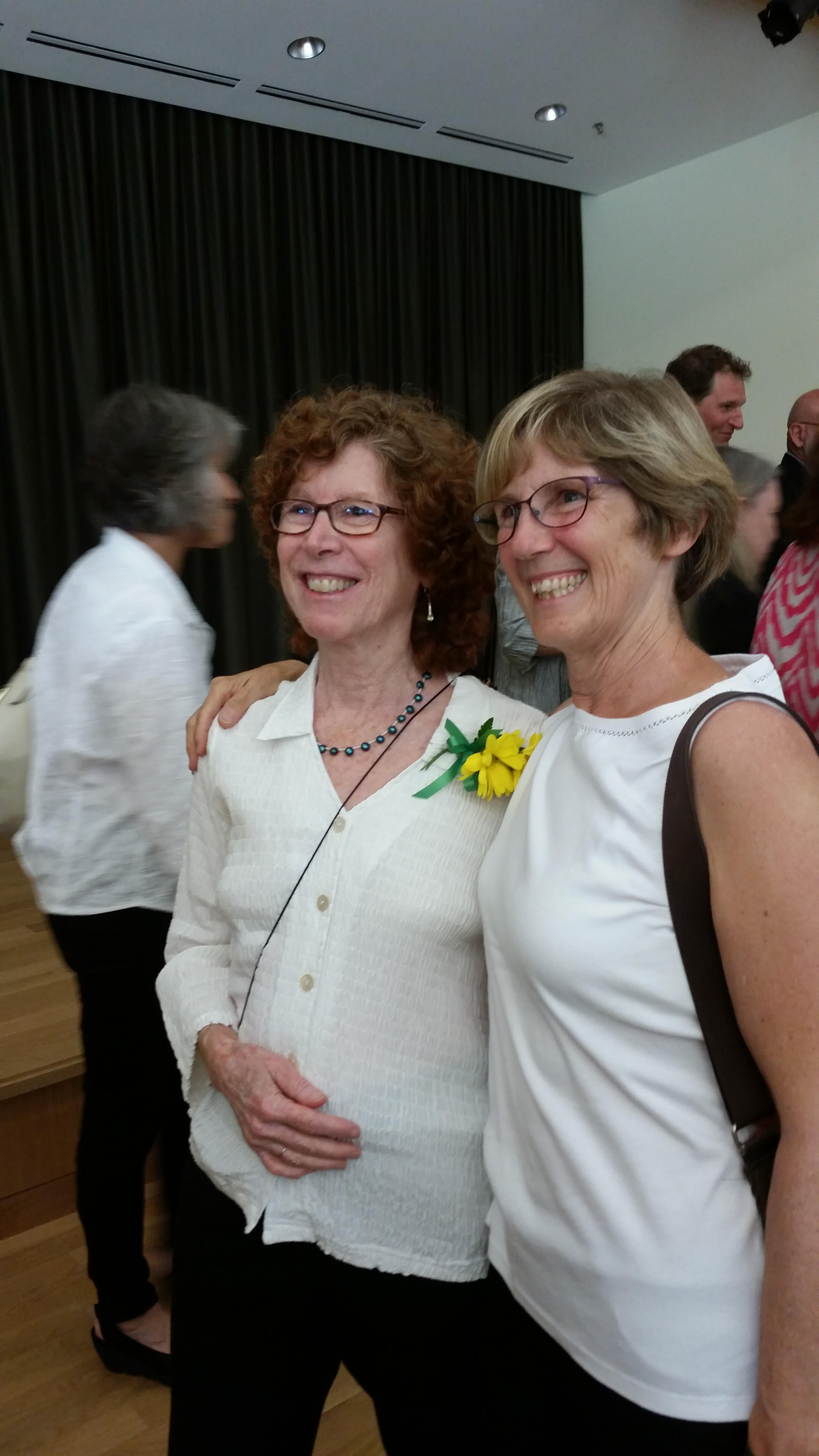 Sandra Morgen (left) pictured with friend after receiving the University of Oregon Research Faculty Excellence Award for Outstanding Research Career