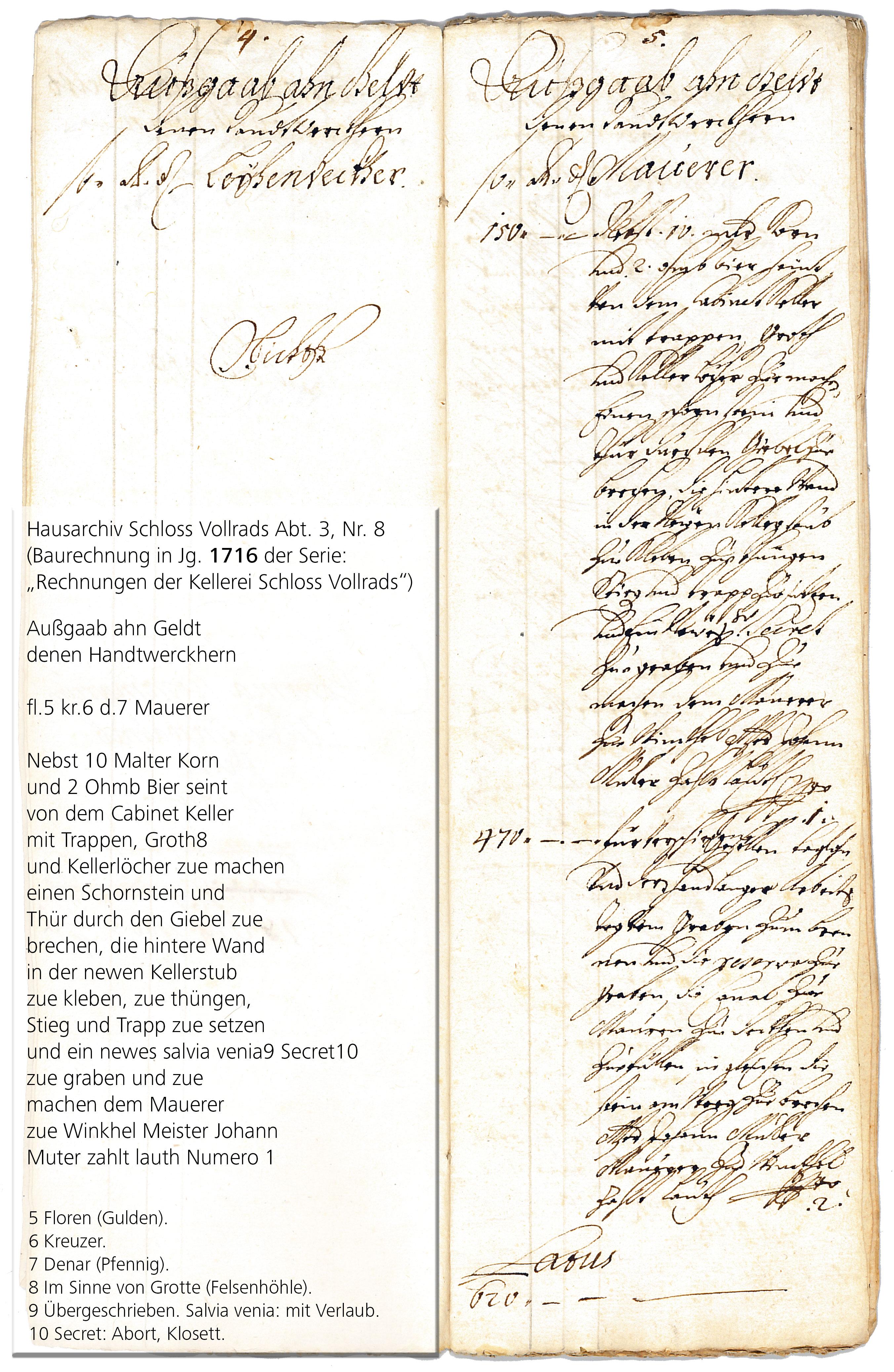 File:Scan der Schloss Vollrads Kabinett Rechnung von 1716 mit ...