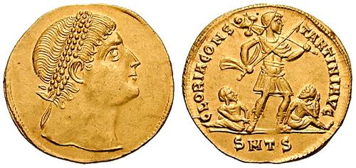 CONSTANTIN 1ER REGARD VERS LE HAUT  Solidus_multiple-Constantine-thessalonica_RIC_vII_163v