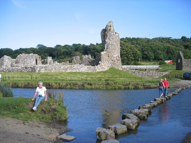 Stepping Stones on River Ogmore, Ogmore Castle, Ogmore, near Bridgend, Wales - geograph.org.uk - 88693