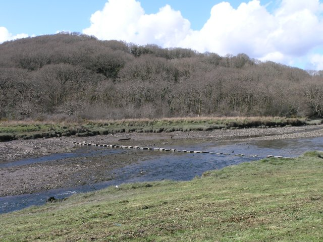 Stepping stones over the Cresswell - geograph.org.uk - 758910