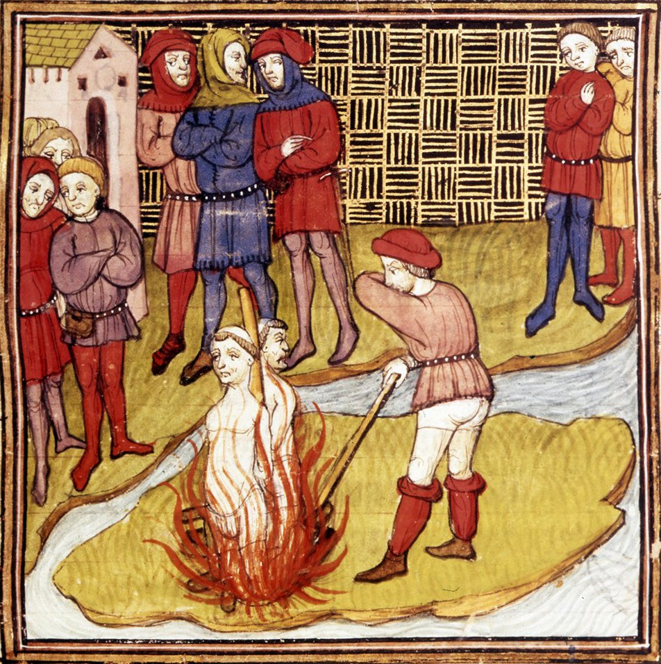 Detail of a miniature of the burning of the Grand Master of the Templars and another Templar.
