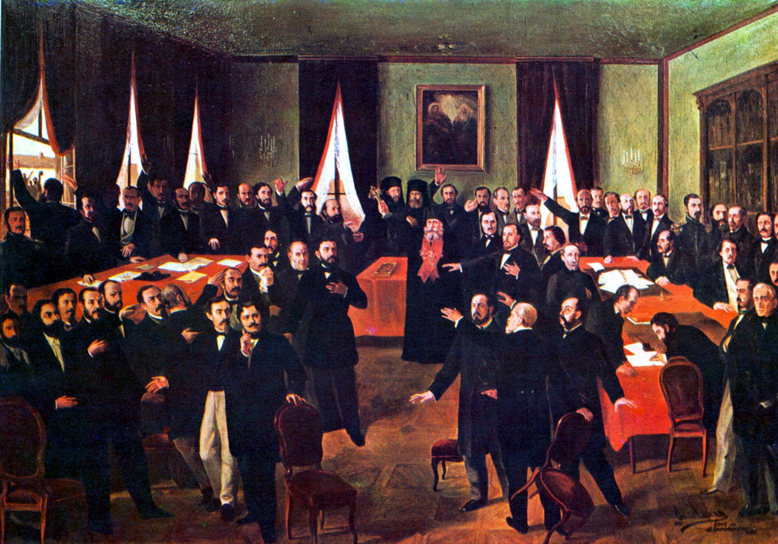 """Proclamarea Unirii""; Muzeul Naţional de Istorie a României. ""Proclamation of Union""; National Museum of Romanian History. By Theodor Aman (1831-1891) [Public domain], via Wikimedia Commons"