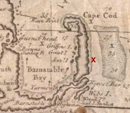 English: Location of Whydah Gally which sank i...
