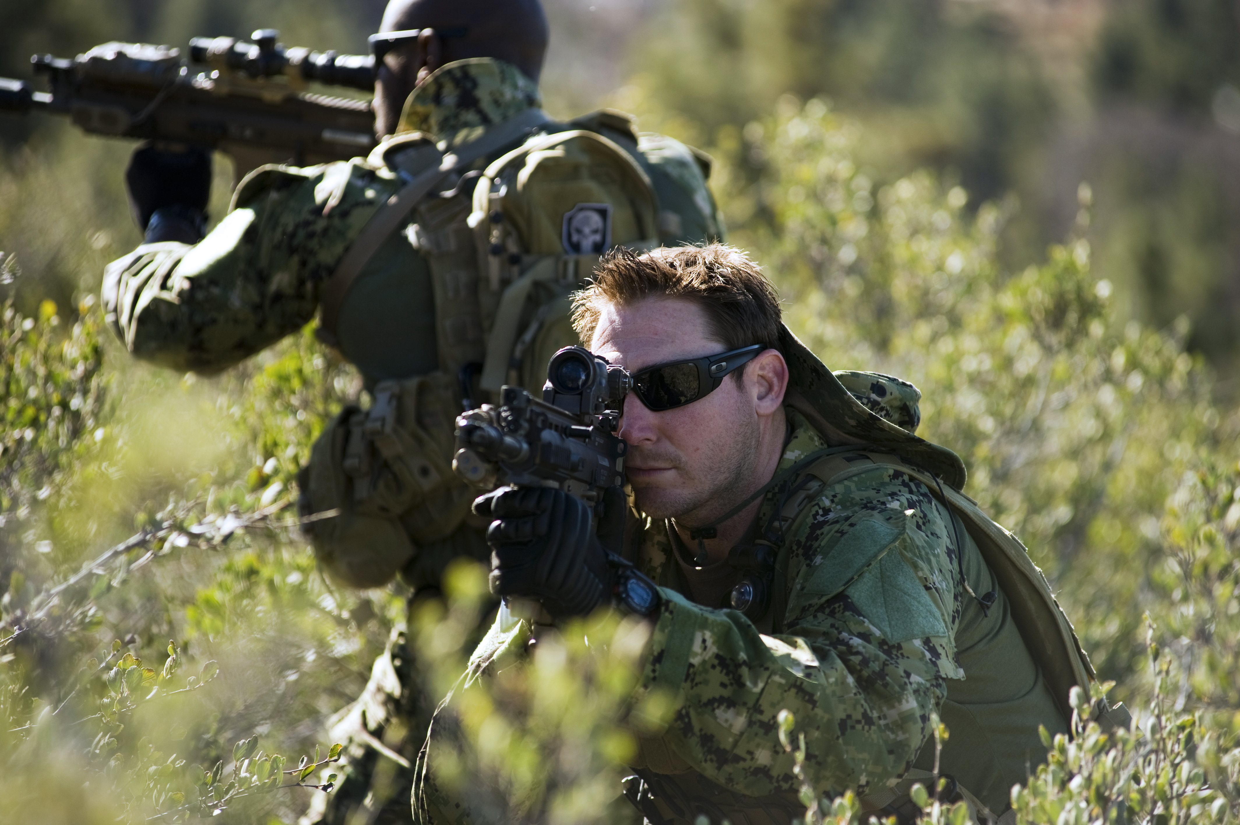 U S Navy SEALs conduct training on land and in water