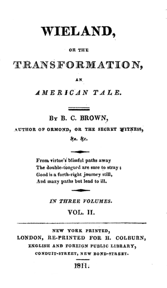 1811 reprint edition of ''Wieland; or, the Transformation''