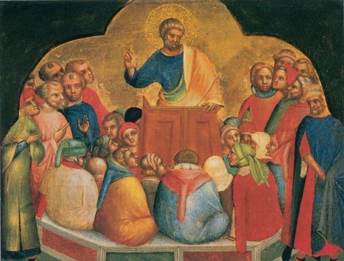 File:17 Lorenzo Veneziano, Apostle Peter Preaching. 1370 Staatliche Museen, Berlin..jpg